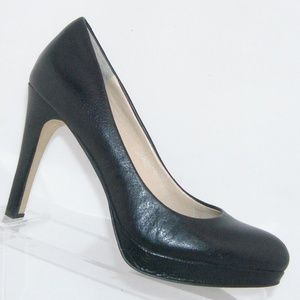 Banana Republic black leather snake print heels 8M